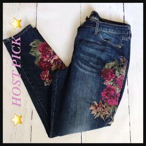 NINE WEST | Gramercy skinny floral embroider jeans